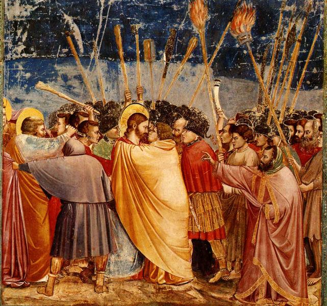 Поцелуй Иуды. Джотто ди Бондоне. Капелла Скровеньи. Падуя. Фреска. 1304-1306 гг.