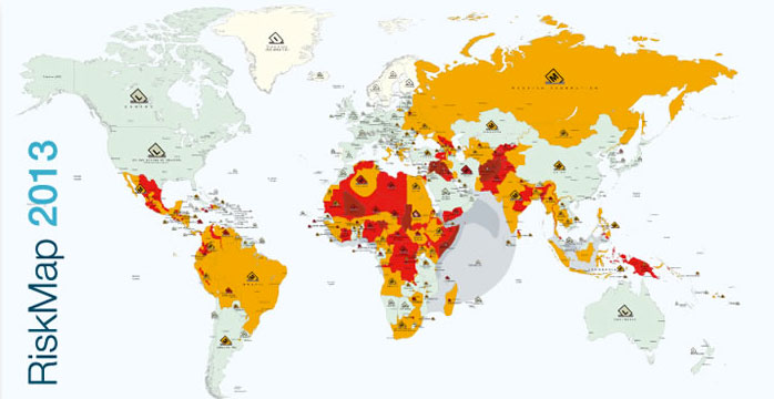 """Pubblicata la """"RiskMap 2013″: la mappa mondiale dei paesi più pericolosi"""