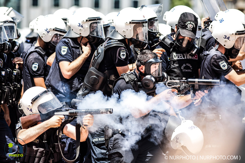 Police fired tear gas against protesters in Taksim Square on June 11, 2013, the 11th day of anti-government protests in Turkey. Photo: Jodi Hilton/NurPhoto
