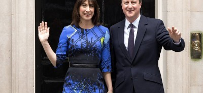 Prime Minister David Cameron and his wife Samantha Cameron arrive at Downing Street on May 8, 2015 in London, England. After the United Kingdom went to the polls yesterday the Conservative party are confirmed as the winners of a closely fought general election, which has returned David Cameron as Prime Minister with a slender majority for his party.