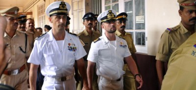 LaPresse25-05-2012CronacaMassimiliano Latorre e Salvatore Girone lasciano il carcere di TrivamdrumItalian marine Massimiliano Latorre, left, and fellow marine Salvatore Girone are produced at a court in Kollam, India, Friday, May 25, 2012. The two marines are accused of fatally shooting two Indian fishermen from the Italian cargo vessel Enrica Lexie off southwest India. The marines were part of the cargo ship's security team, and India accuses them of mistaking the fishing boat for a pirate ship.